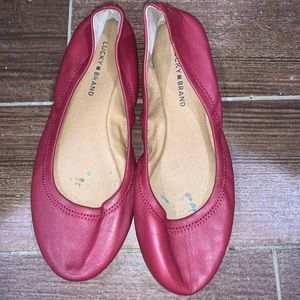 Red Lucky Brand Leather Ballerina Flats
